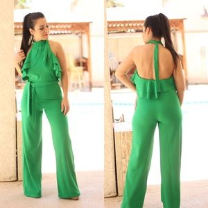 Pants - Green halter top choker ruffled jumpsuit